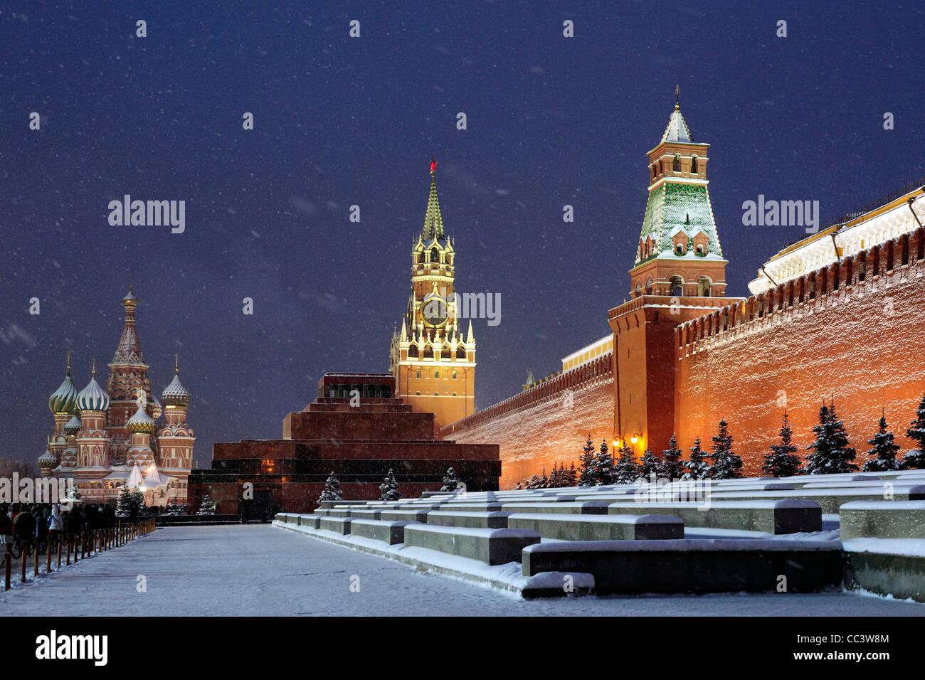 La Cathédrale de Saint Basil dans la nuit, la place Rouge, Moscou, Russie Photo Stock