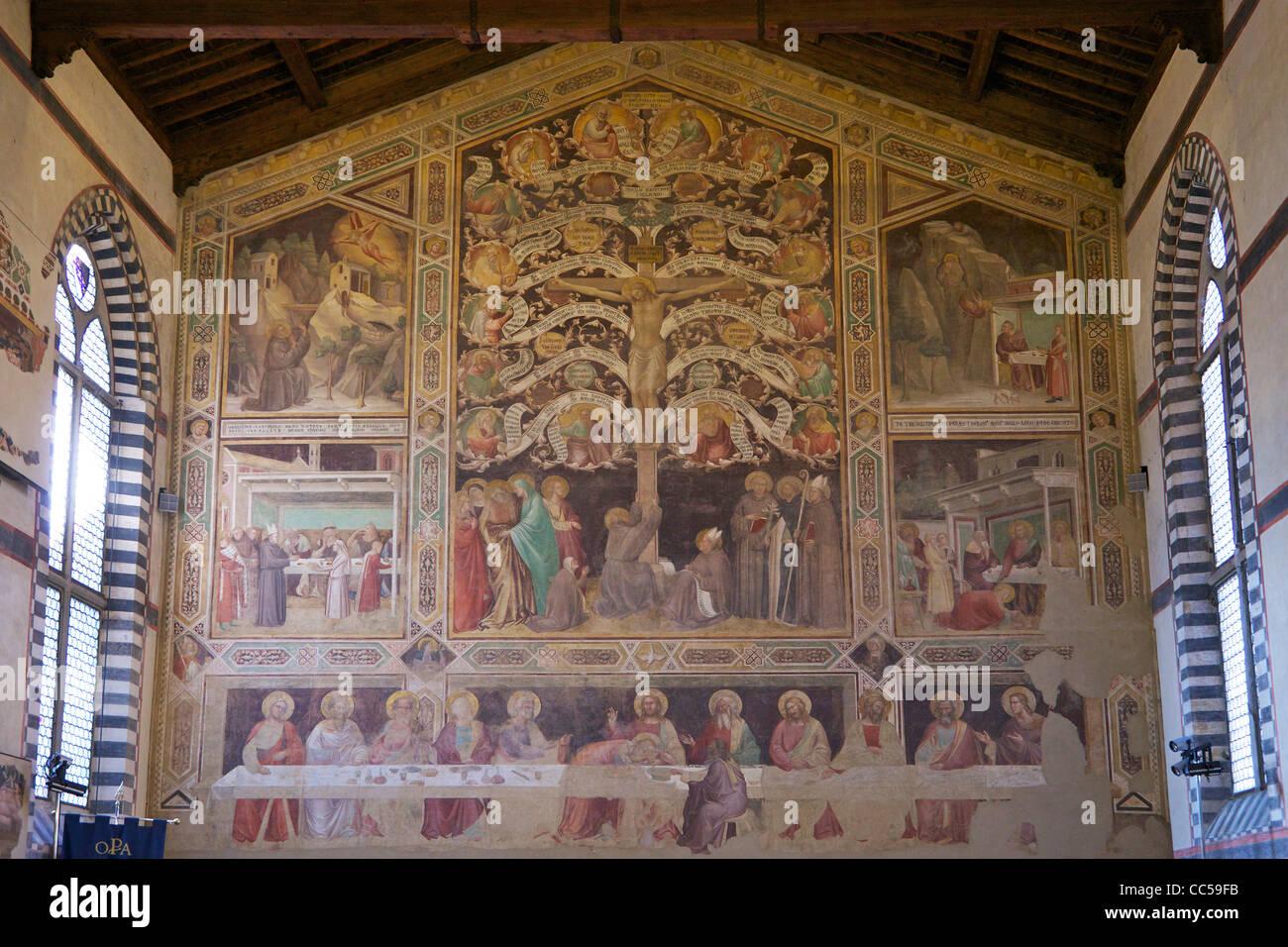 Fresques de la Cène et l'arbre de vie, par Taddeo Gaddi, vers 1335, un grand réfectoire, Basilique Santa Croce, Banque D'Images