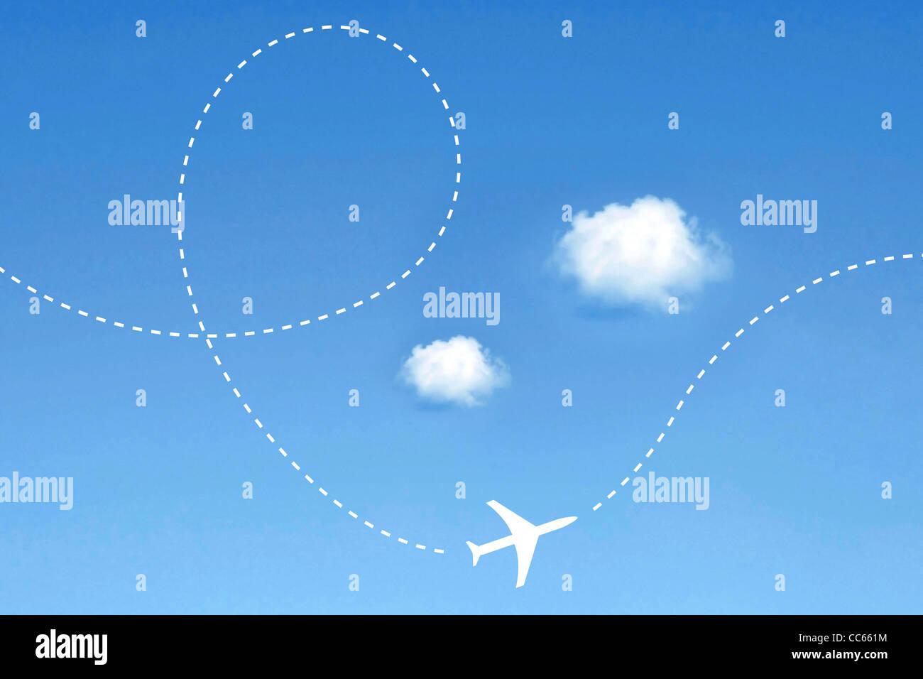 Itinéraire de l'avion Photo Stock