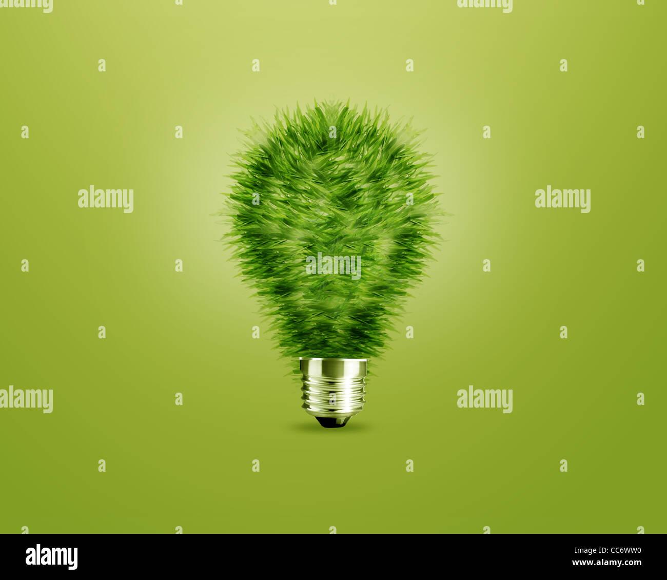 Concept de l'écologie, de l'ampoule du feu vert comme un arbre. Photo Stock