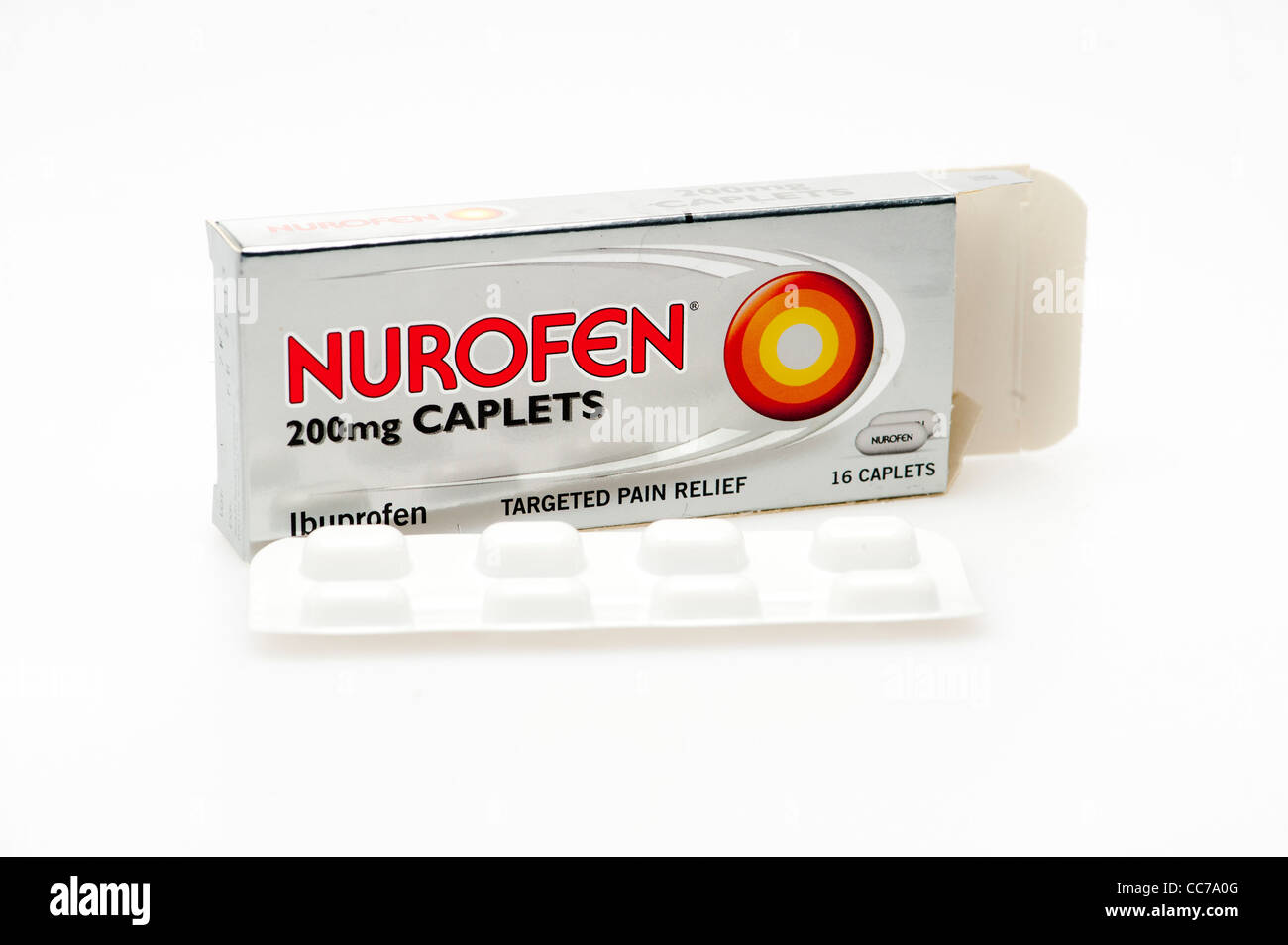 Un pack de nurofen 200mg comprimés Les comprimés d'ibuprofène analgésique UK Photo Stock