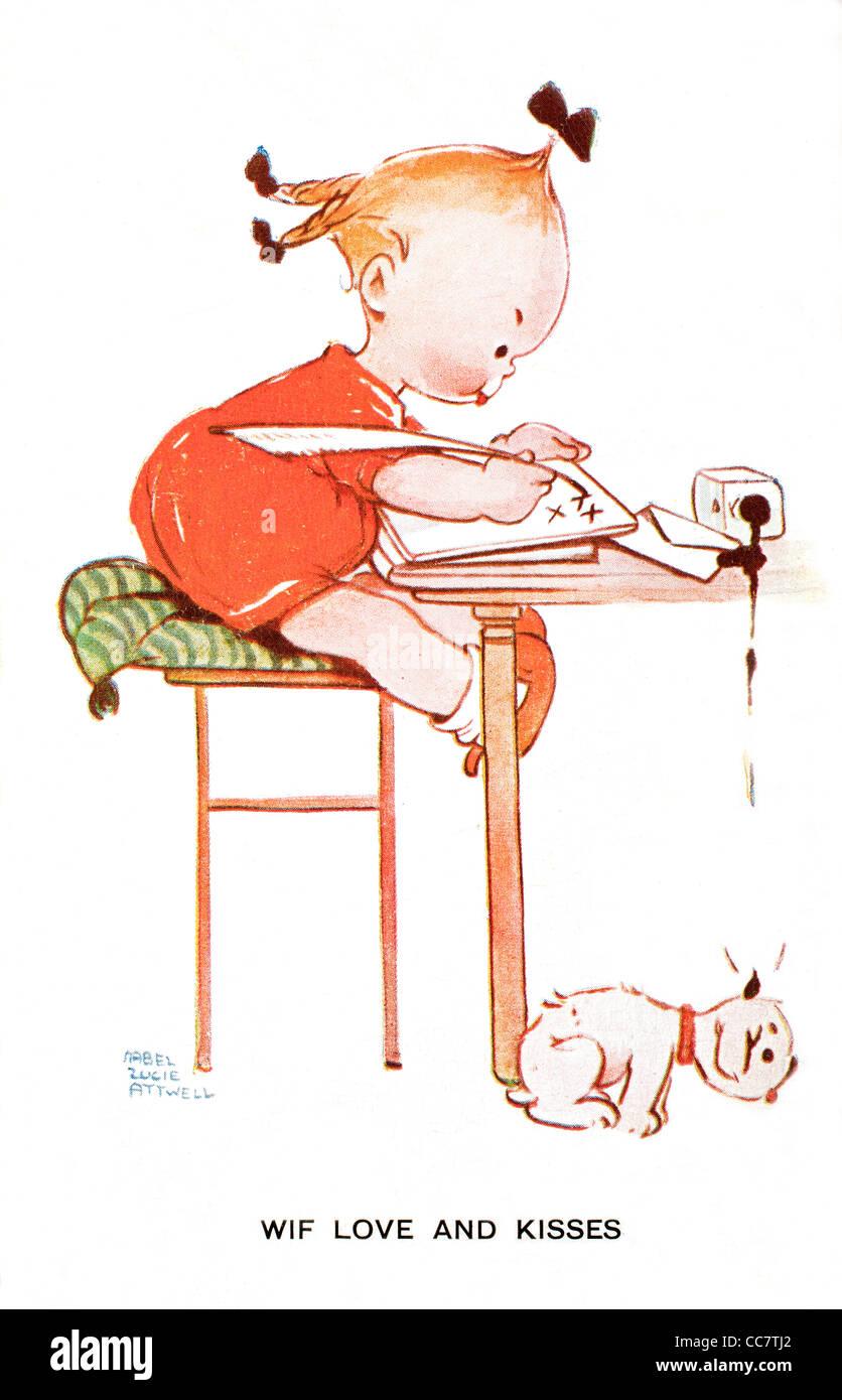 1920 Mabel Lucie Attwell Cartes Messages D Amour Et De