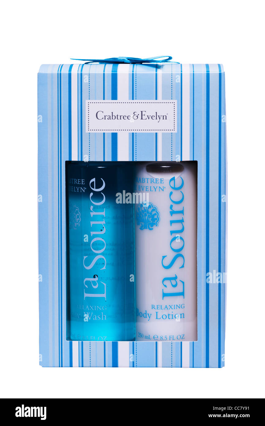 Un cadeau de body wash et lotion de toilette Crabtree & Evelyn sur fond blanc Photo Stock