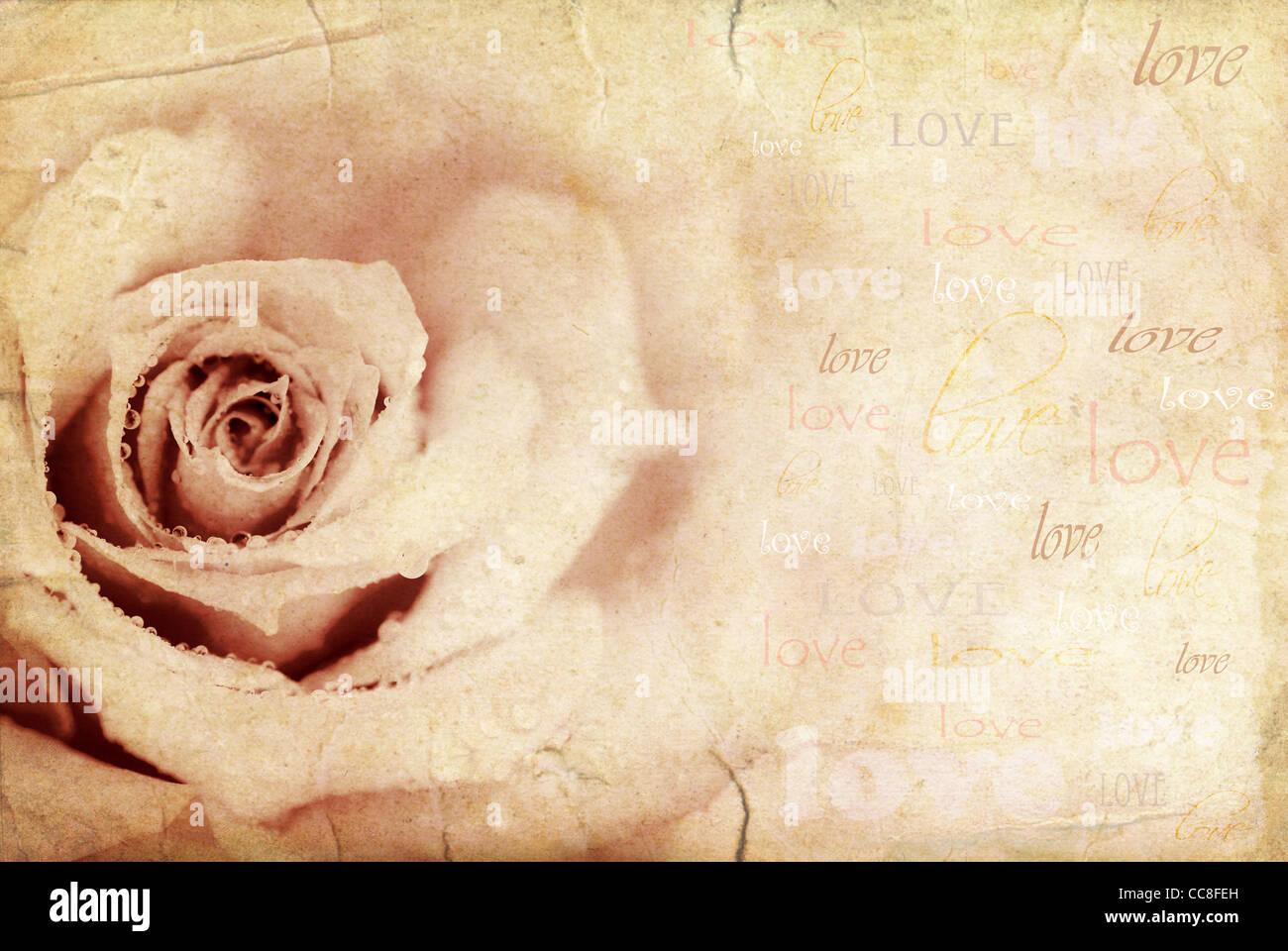 Fond rose Grungy, maison de vacances Carte de fête avec texte d'amour Banque D'Images