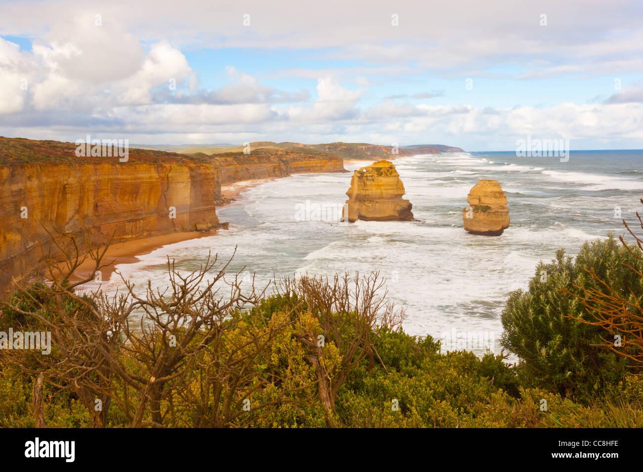 Deux des douze apôtres, Port Campbell National Park près de Port Campbell sur la Great Ocean Road, sur Photo Stock