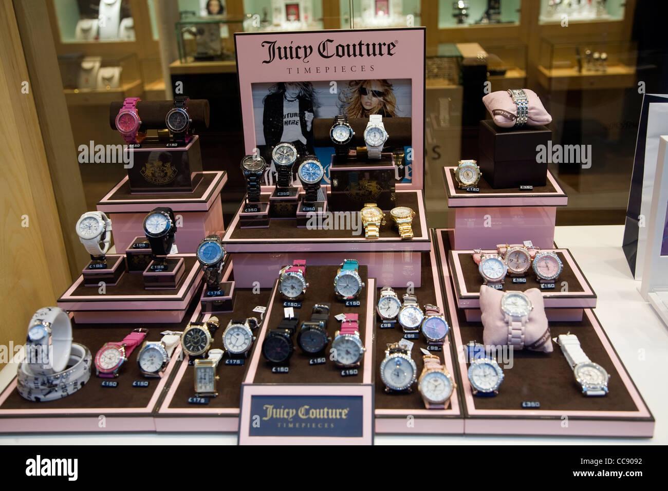 Montre Juicy Couture vitrine d'affichage Photo Stock