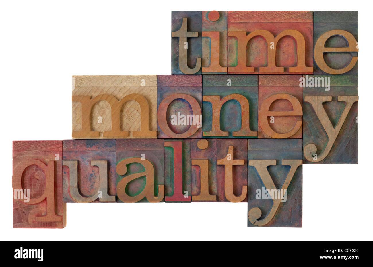 - Stratégie de gestion de temps, d'argent, autrement dit de qualité en bois de type vintage letterpress, tachés Banque D'Images