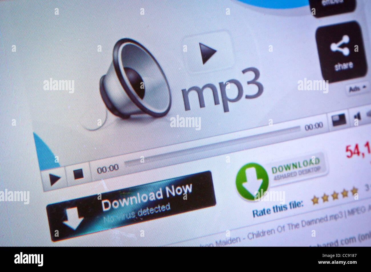 Télécharger l'écran de l'ordinateur internet musique mp3 Photo Stock