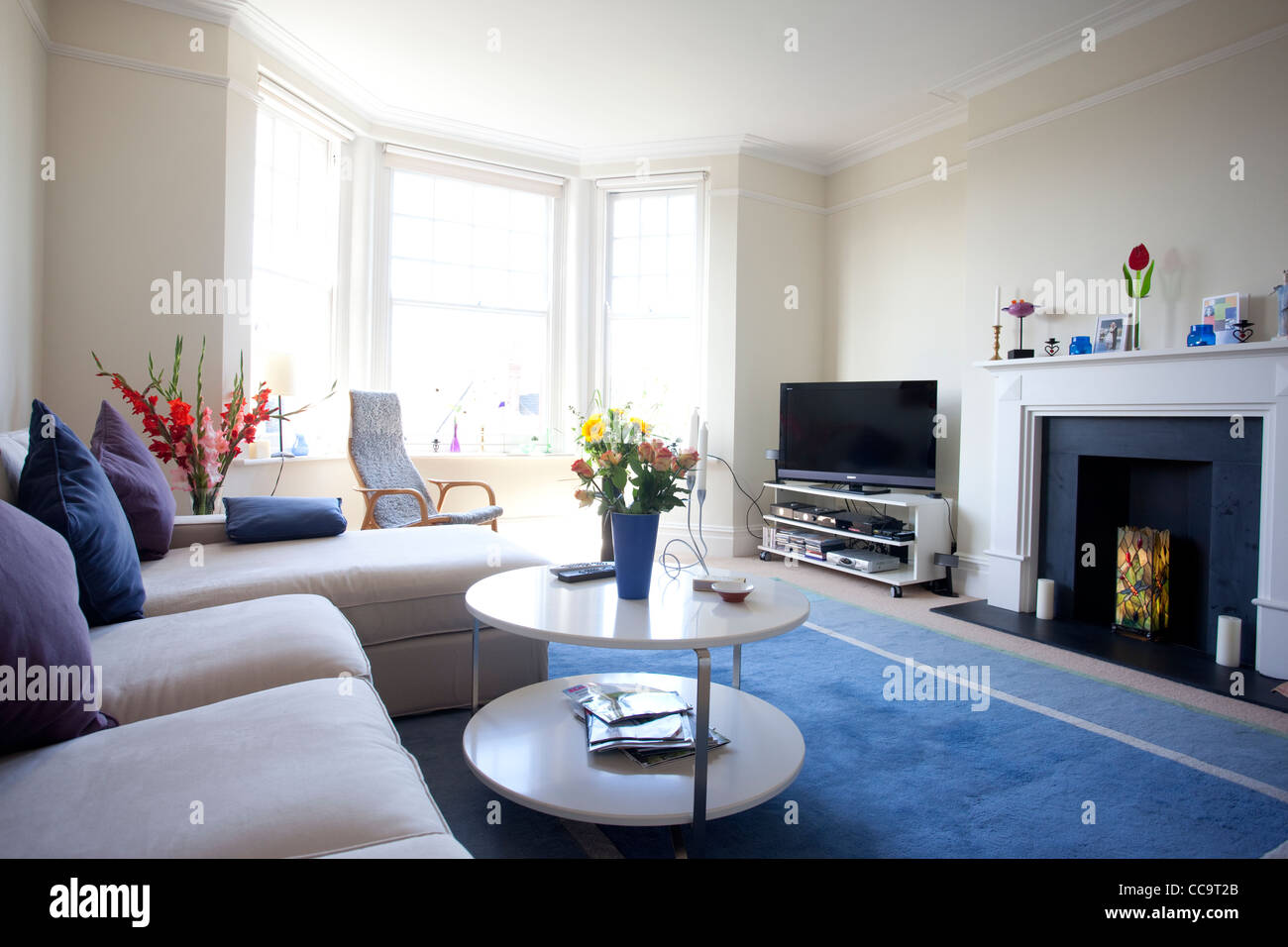 Appartement living room géorgienne, Hammersmith, Londres, UK Photo Stock