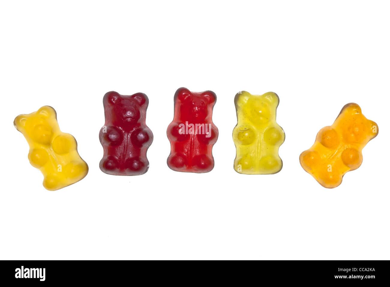 Ours gummi bio sans gélatine, coloré et aromatisé avec du jus de fruits Banque D'Images