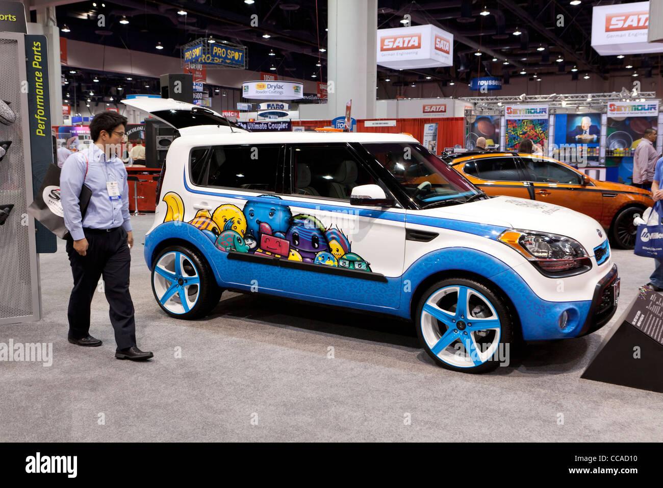 """""""Trou en un"""" - Kia Soul Kia Concept car inspiré par Michelle Wie Photo Stock"""