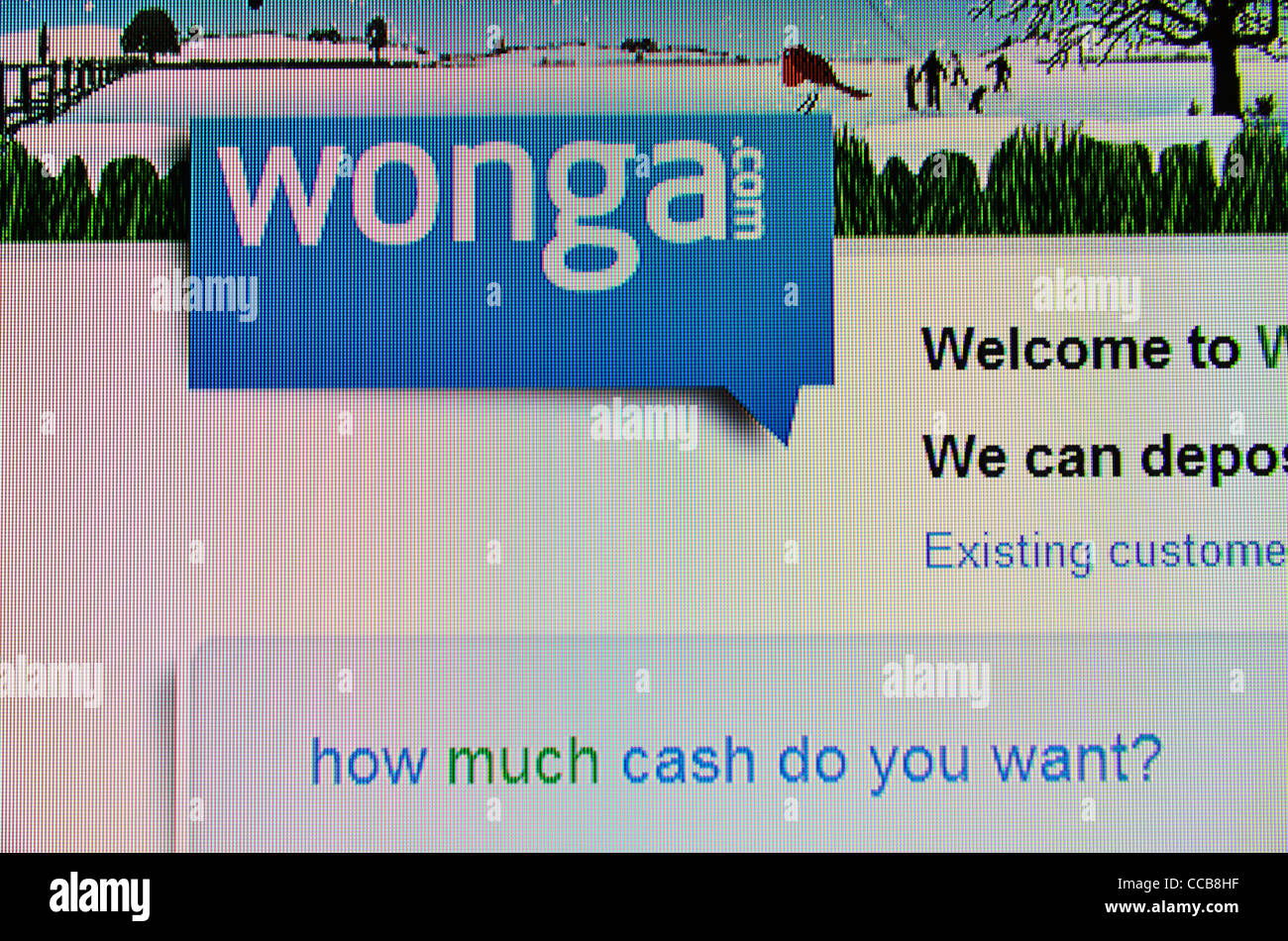 Prêts de trésorerie instantanée Wonga.com site web Banque D'Images