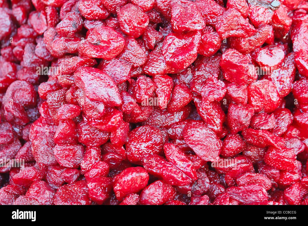Contexte de marché Thaïlande préserver à la fraise Photo Stock