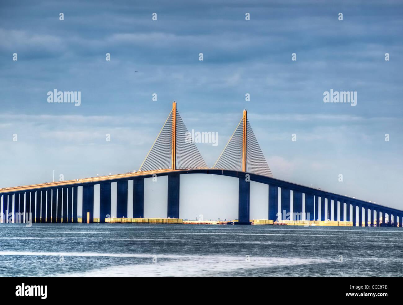 Sunshine Skyway à Saint-Pétersbourg, en Floride Photo Stock