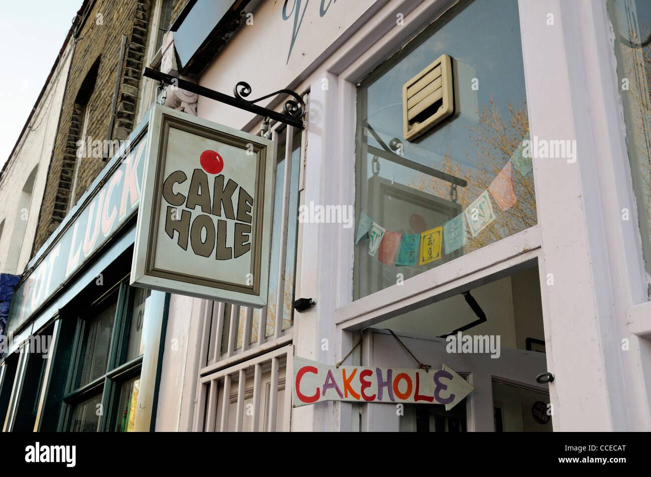 Trou de signer ou gâteau de thé Cakehole Columbia Road Flower Market Tower Hamlets London England UK Photo Stock