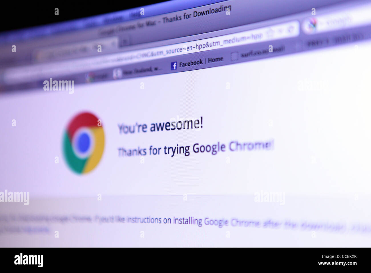 Écran de l'ordinateur page d'accueil sur Internet pour goggle Chrome Photo Stock