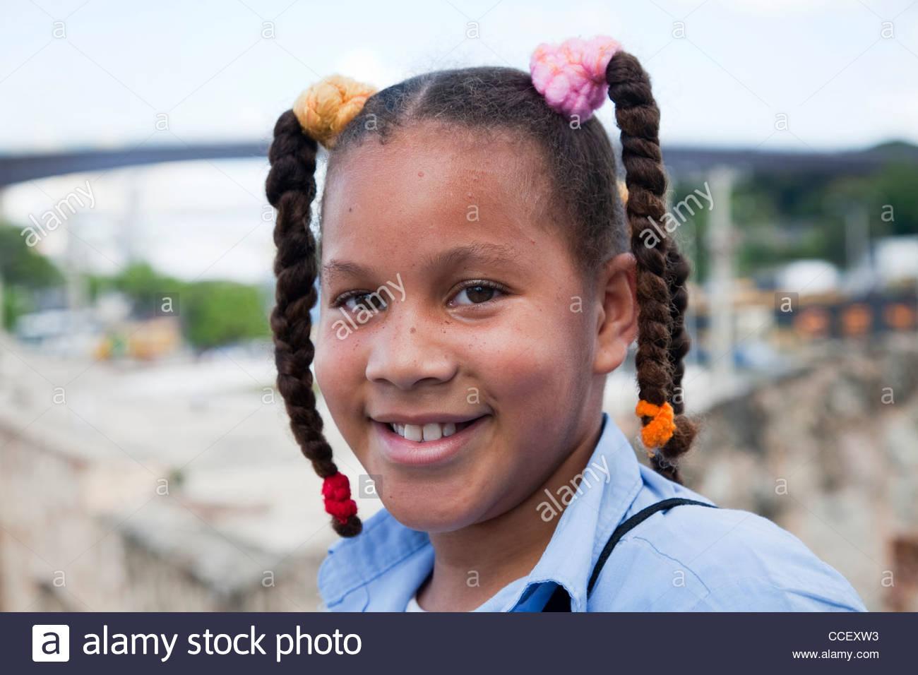 Lycéenne,Santo Domingo, République dominicaine, Haïti, Caraïbes Photo Stock