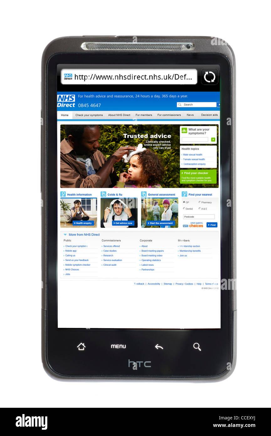 Le site web des conseils de santé NHS Direct vu sur un smartphone HTC, England, UK Photo Stock