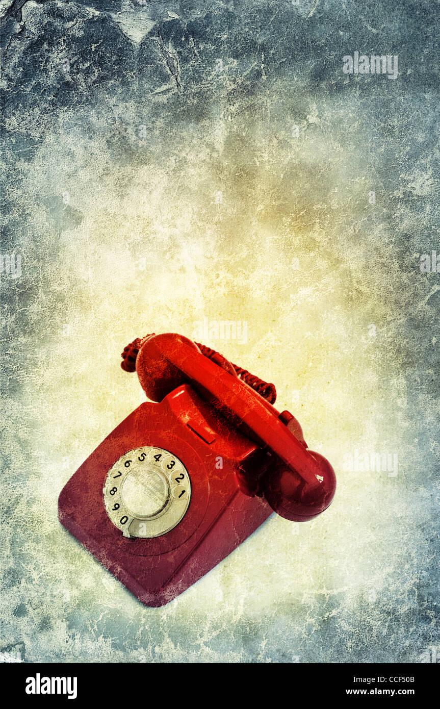 Retro téléphone rouge Photo Stock