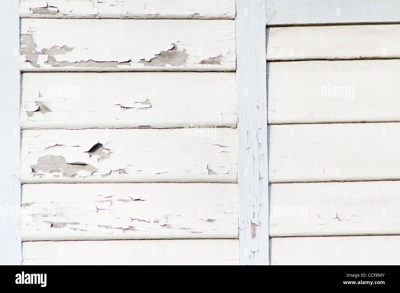 Mur en bois avec peinture blanche. Photo Stock