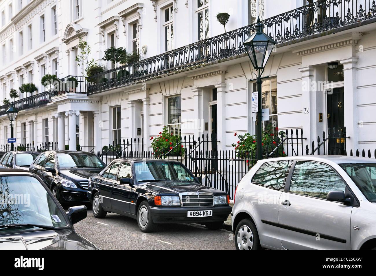 Maison élégante dans Wellington Square, Chelsea, London, SW3, UK Photo Stock