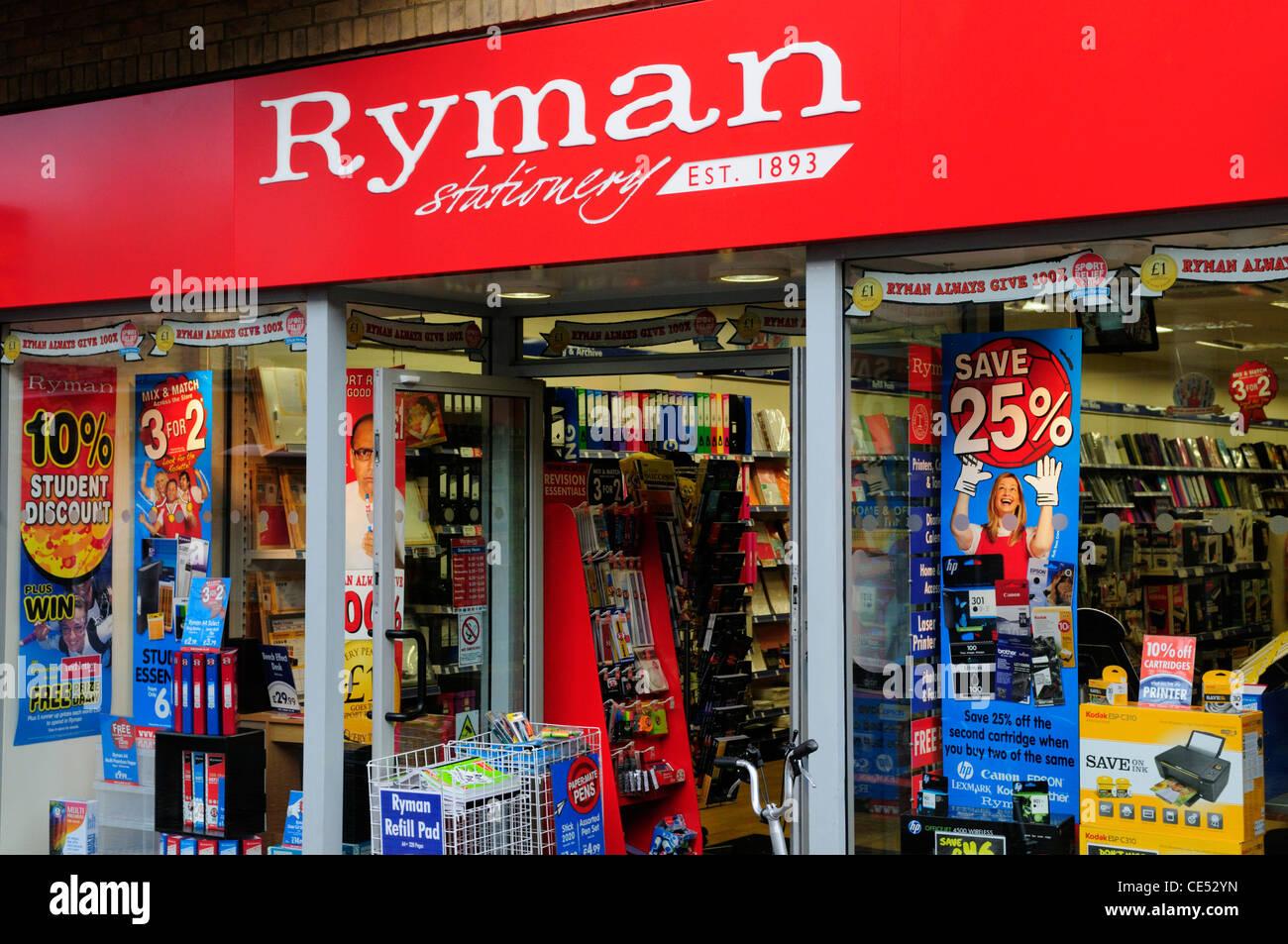 Papeterie Ryman, Cambridge, England, UK Photo Stock
