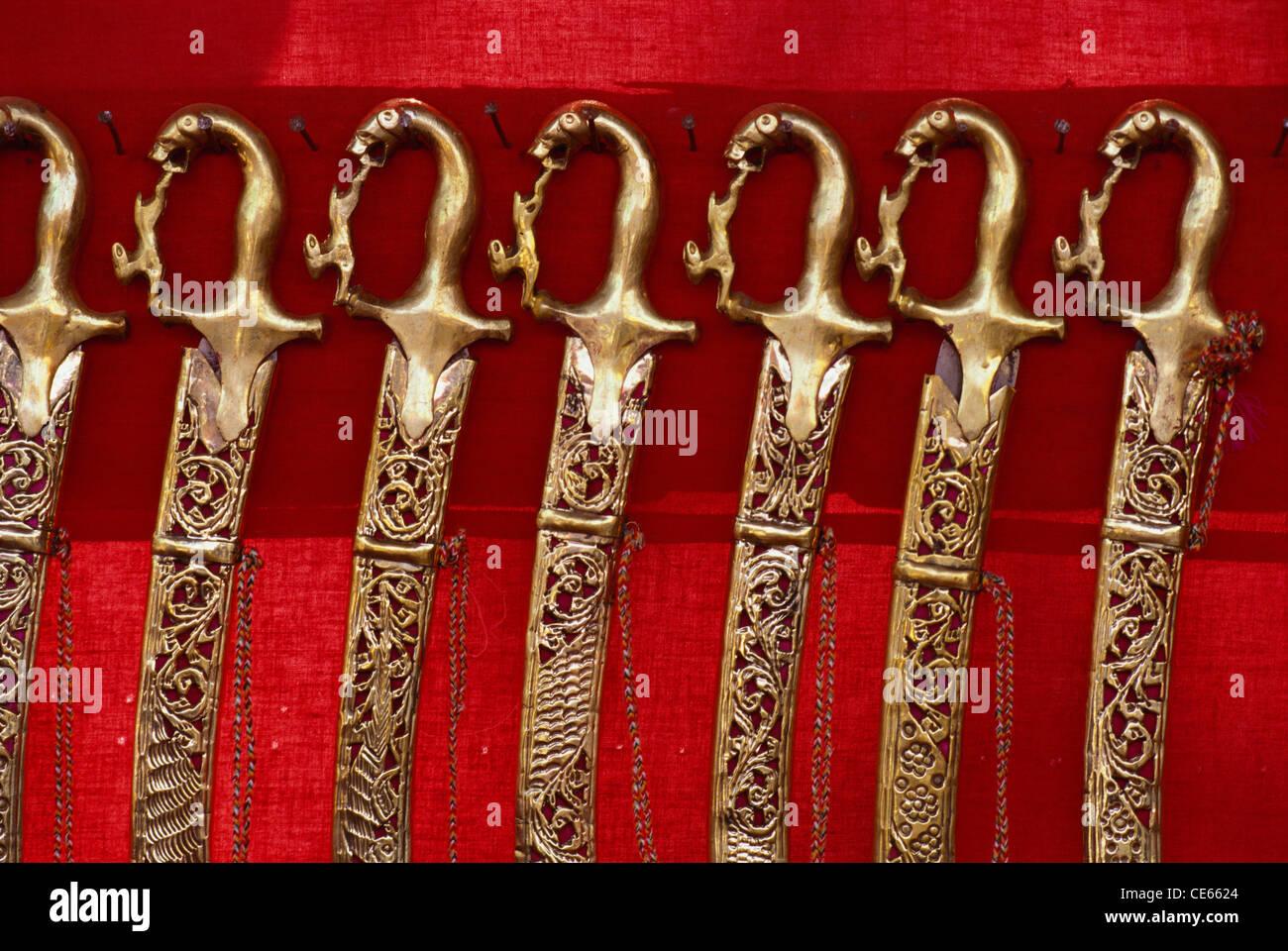 Épée du Rajasthan Inde; travail en laiton Photo Stock