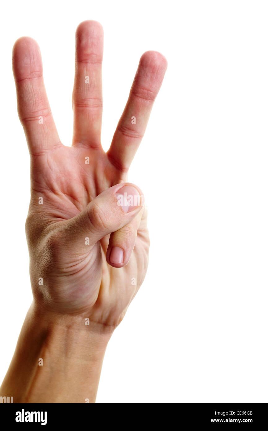 Image de l'homme part montrant trois doigts sur un fond blanc Photo Stock