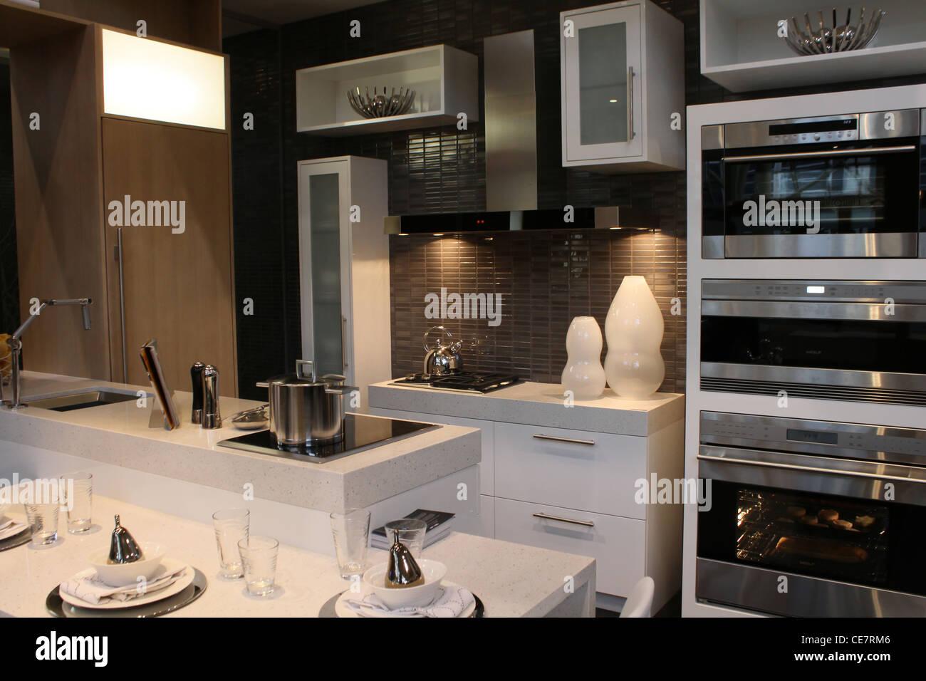 Designer de luxe moderne en acier inoxydable cuisine Banque ...