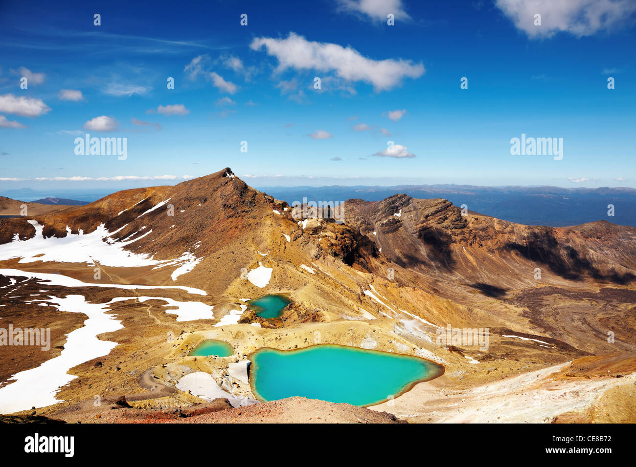 Lacs émeraude, Parc National de Tongariro, Nouvelle-Zélande Photo Stock