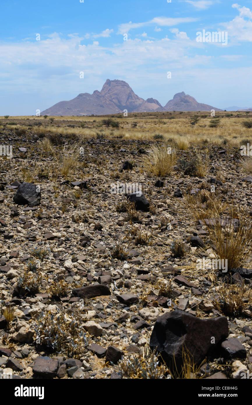 Les pics de Spitzkoppe se démarquer de l'horizon, vu de la vaste plaine du désert du Namib. Le Damaraland, Photo Stock