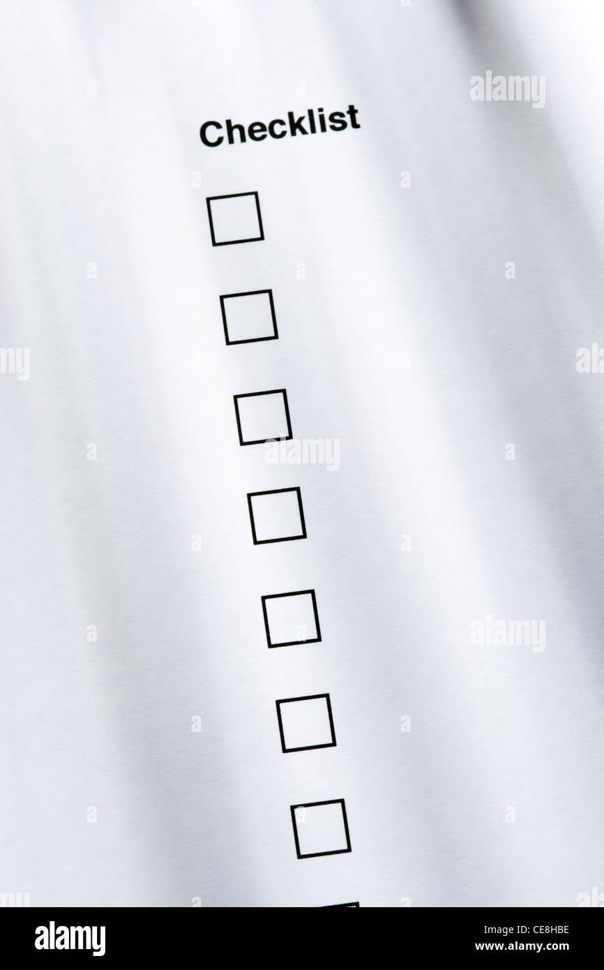Liste de vérification, aucun cochée Banque D'Images
