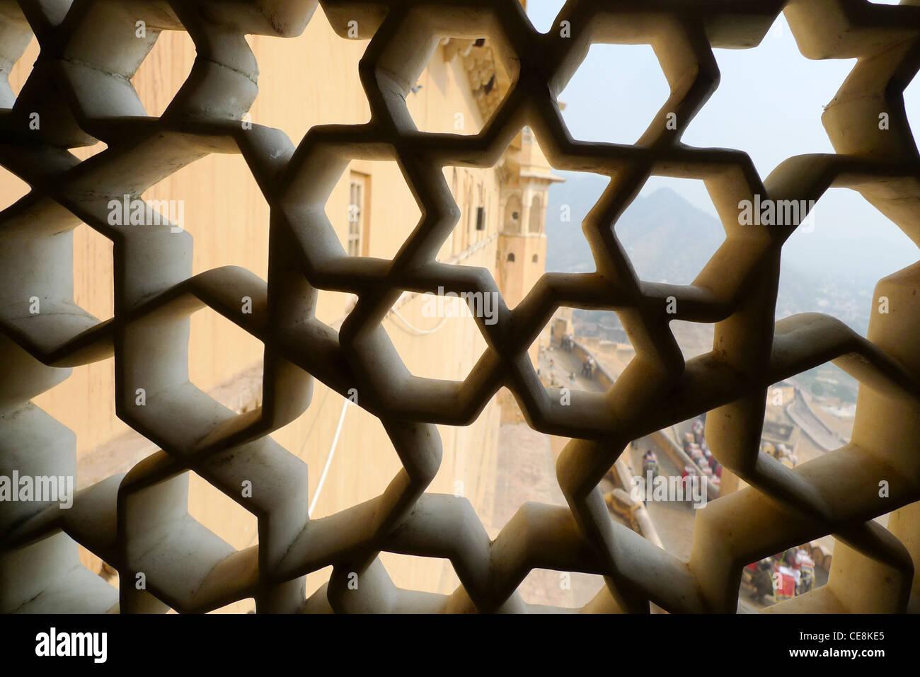 Fort d'Amber, à l'extérieur de Jaipur, au Rajasthan, Inde Photo Stock