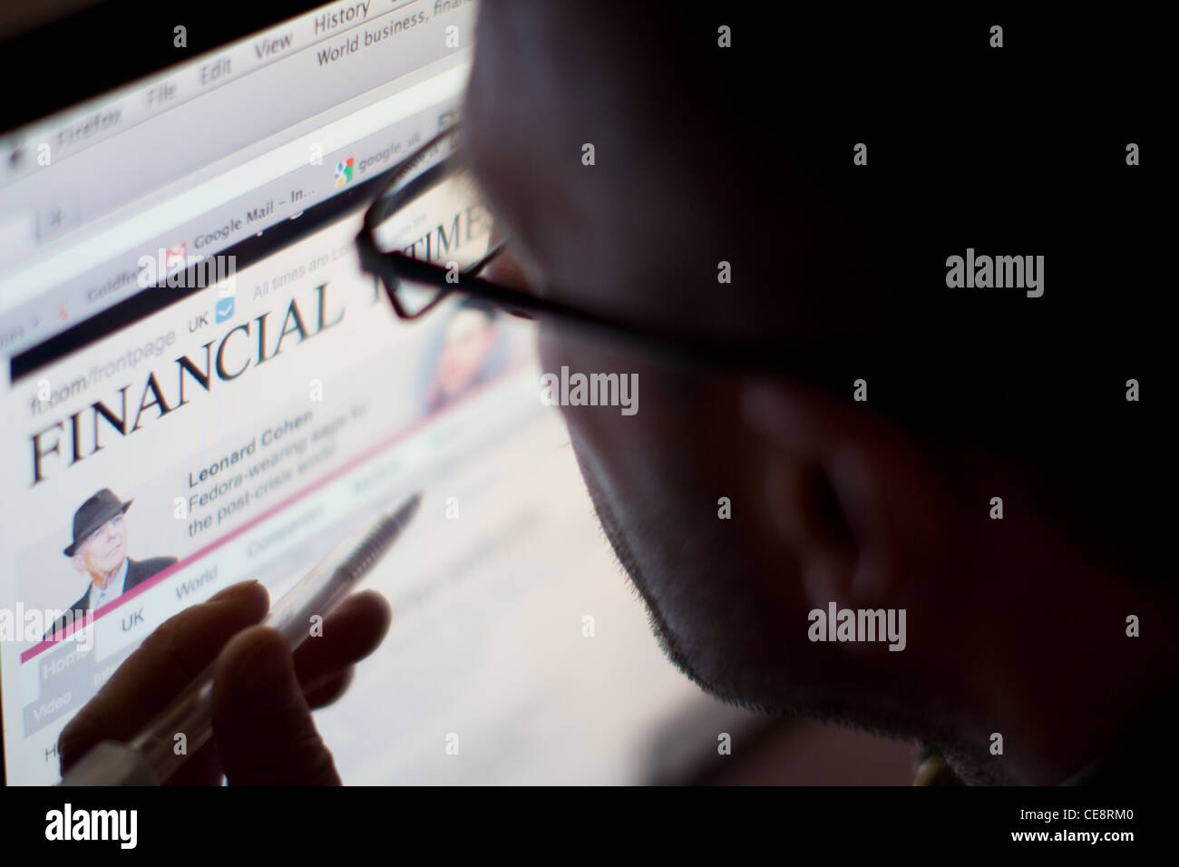 Financial Times online web site Photo Stock