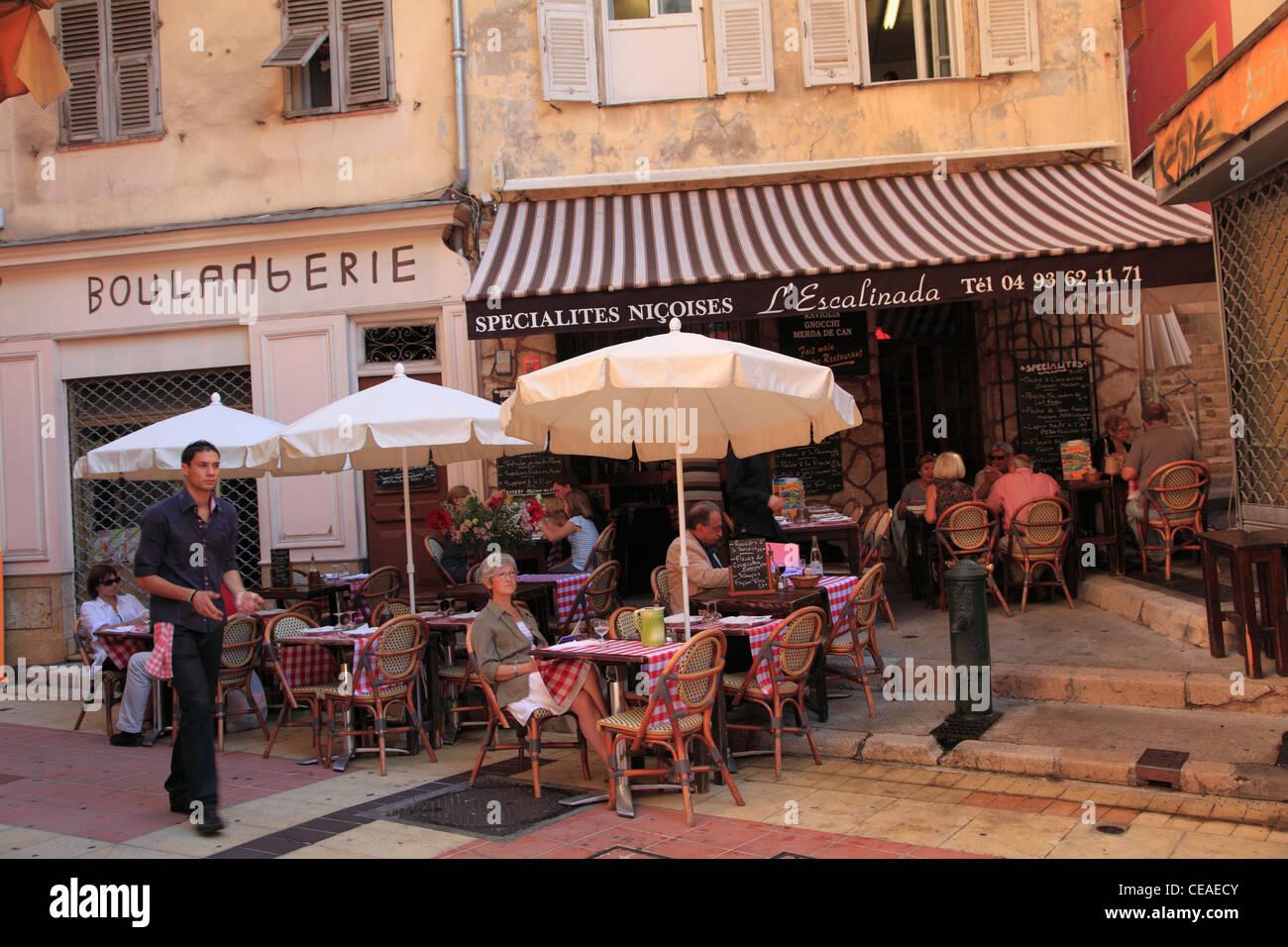 Cafe, Vieille Ville, Vieux Nice, Nice, Côte d'Azur, Alpes Maritimes, Provence, Cote d Azur, France, Europe Photo Stock