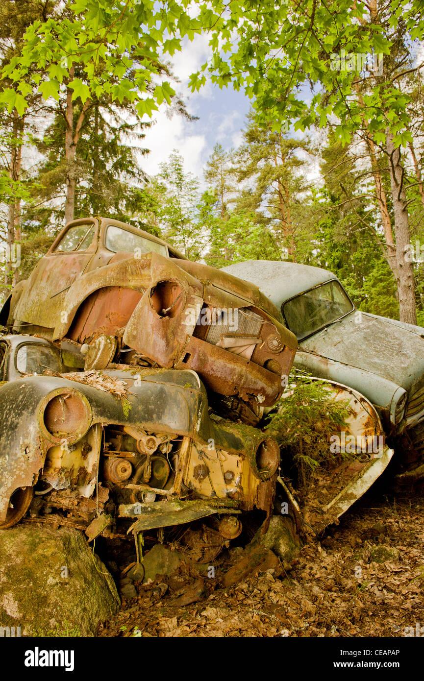 Jetés dans la nature les voitures Photo Stock