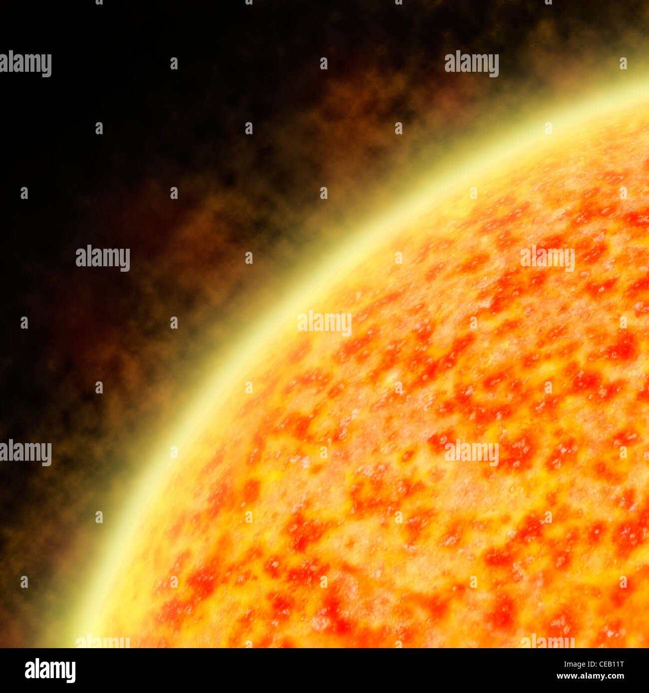 Illustration du soleil irradiant un vent solaire montrant les régions irrégulières Photo Stock