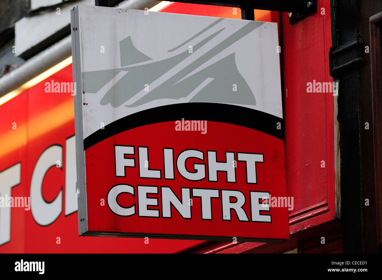 Flight Centre Travel Agent's Sign, Cambridge, England, UK Photo Stock