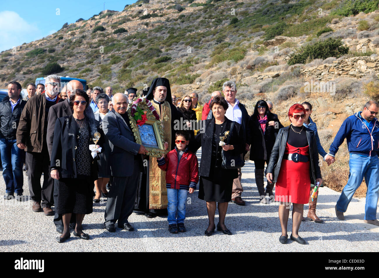Grèce îles Cyclades sikinos un festival religieux Banque D'Images