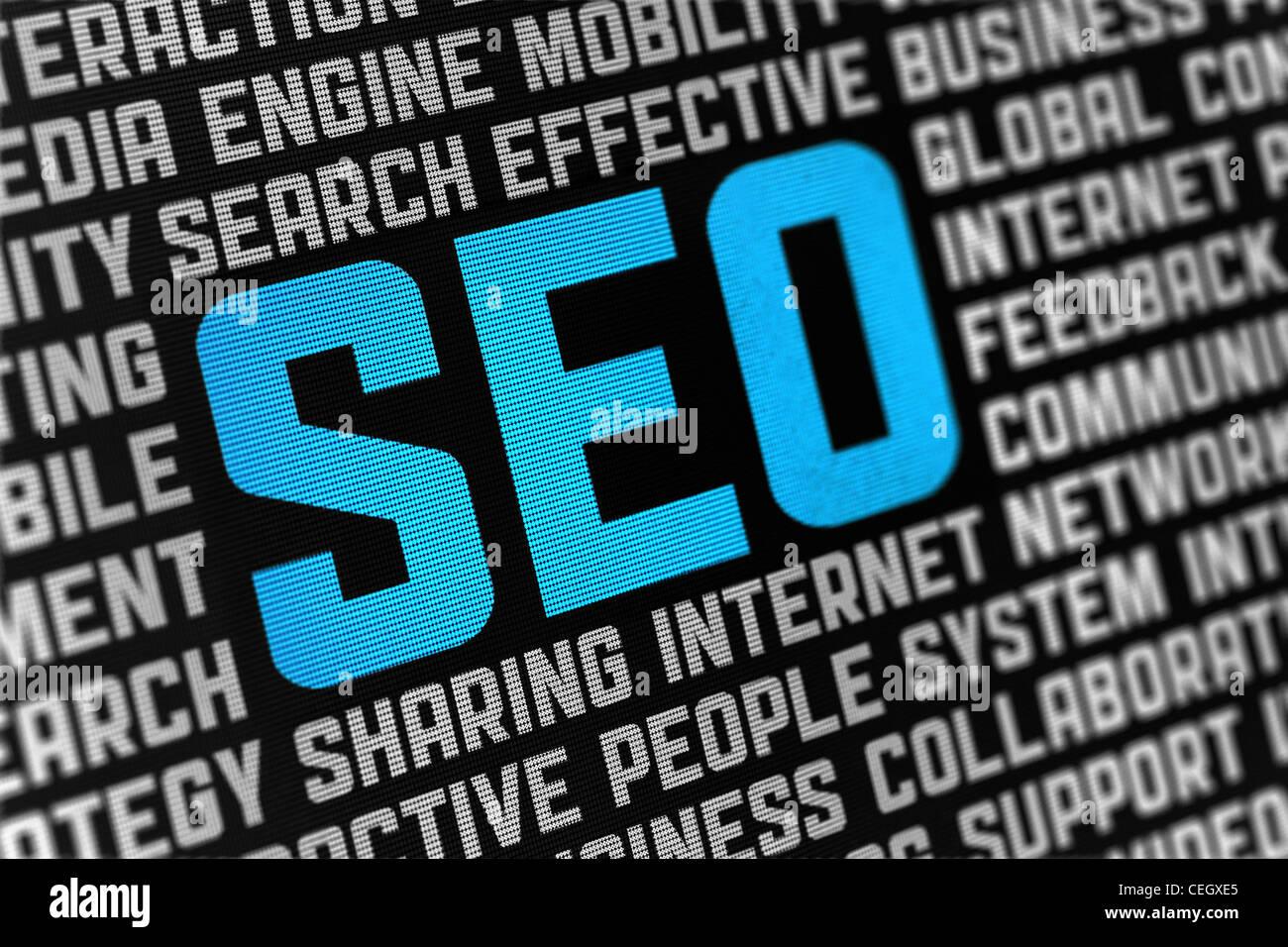 Poster numérique avec SEO texte et mots sur thème optimisation de moteur social. Selective focus sur le texte du Banque D'Images