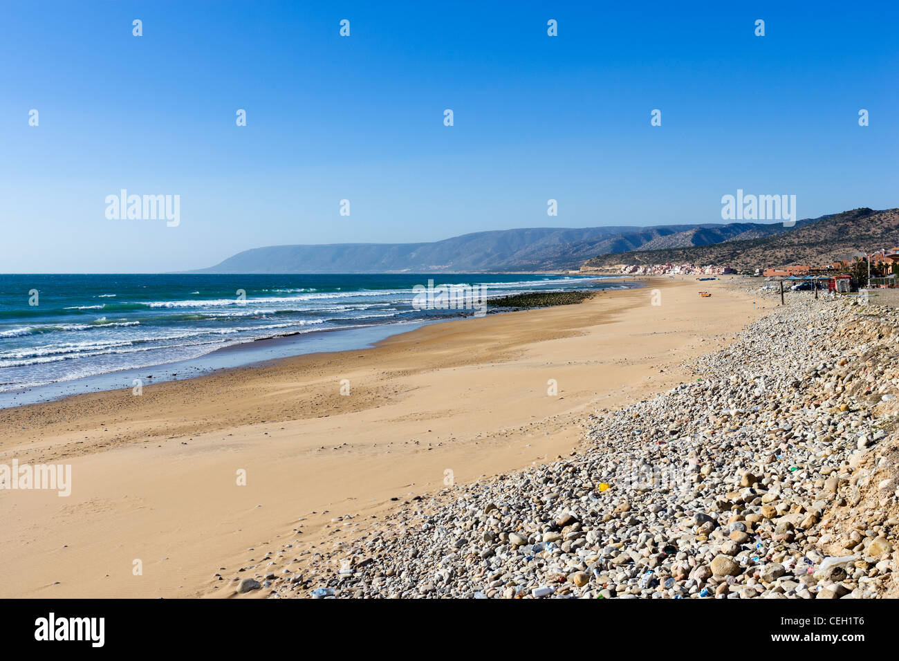 Paradis plage au nord de Taghazout Tamraght et Agadir, Maroc, Afrique du Nord Photo Stock