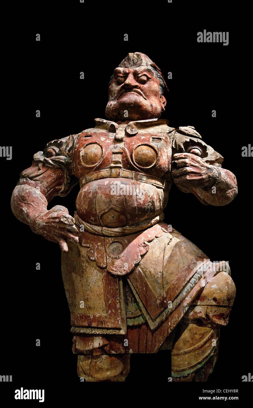 Lokapala de bois le roi céleste, de la dynastie Tang 618-907 annonce grottes de Dunhuang Mogao au Gansu Chine Photo Stock