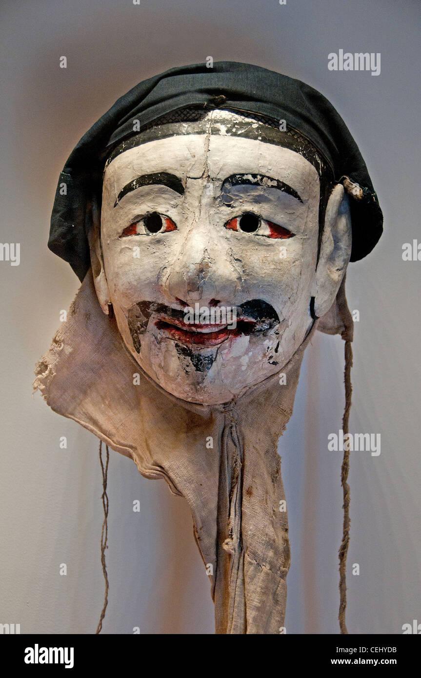 Bois peint masque période Choson Corée coréen du 17e siècle Photo Stock