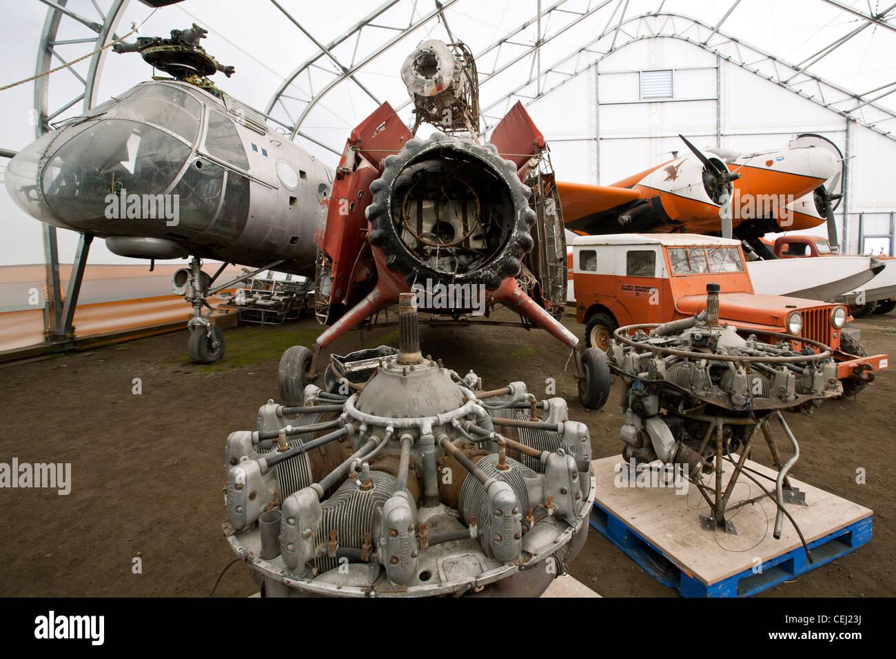 Vieux moteurs d'avion. Musée de l'aviation en Alaska. Anchorage. De l'Alaska. USA Photo Stock
