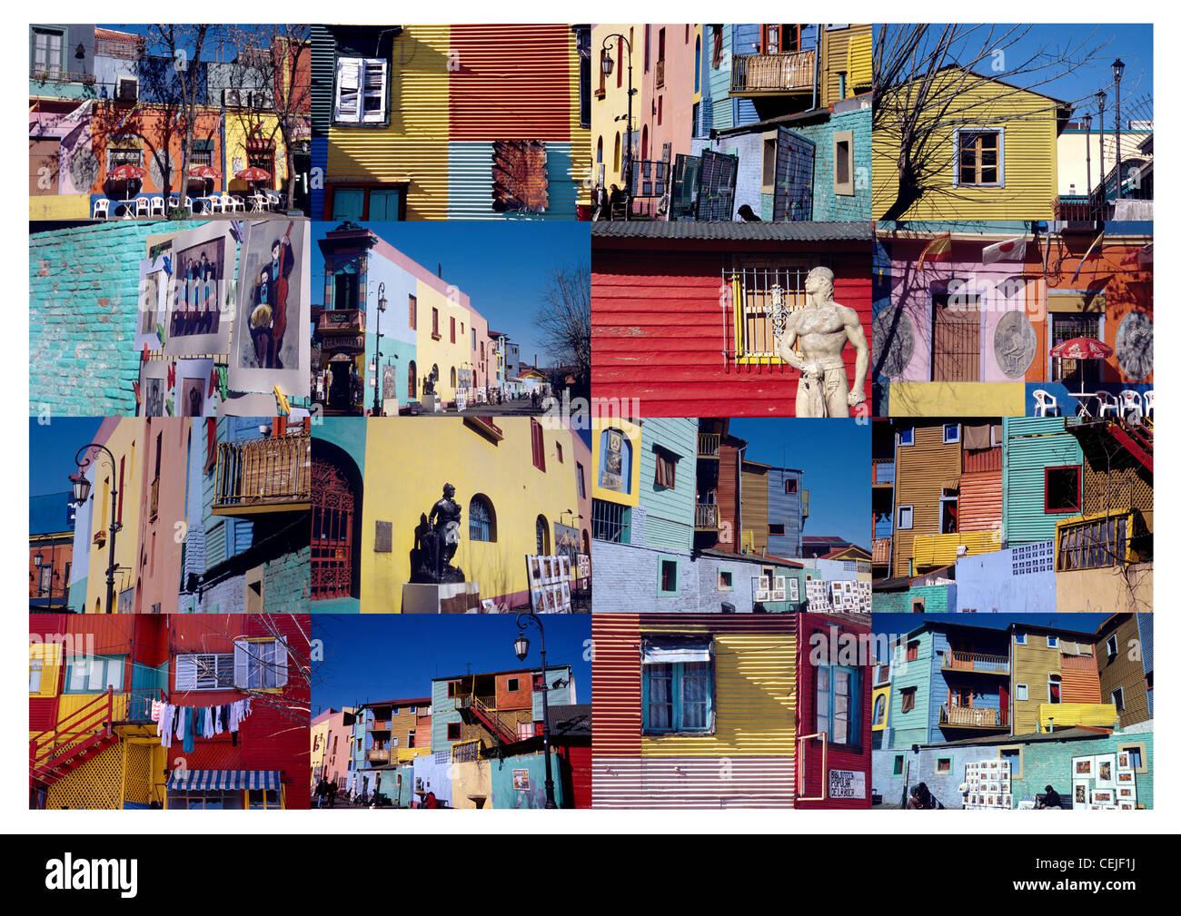 Collage de l'architecture colorée de la région de La Boca à Buenos Aires, Argentine, Amérique Photo Stock
