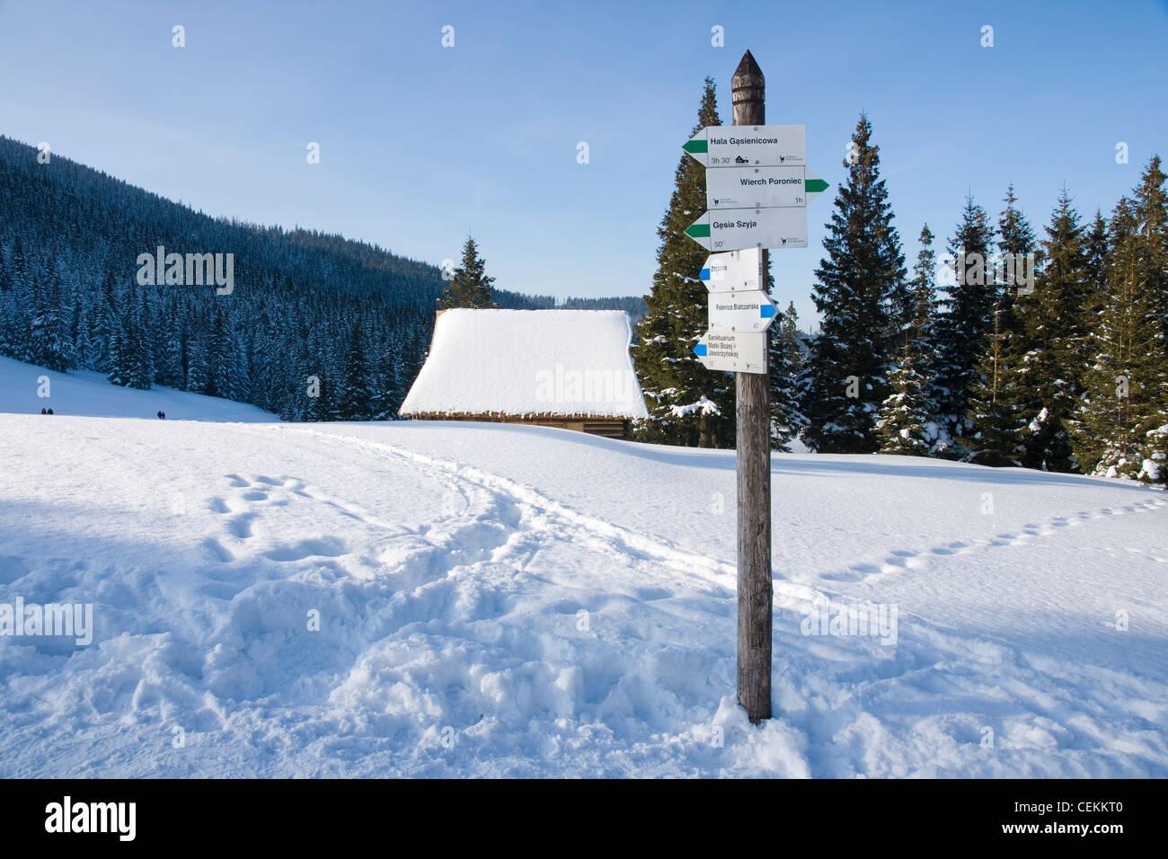 Polish Tatras dans un paysage d'hiver sur Rusinowa Glade Banque D'Images