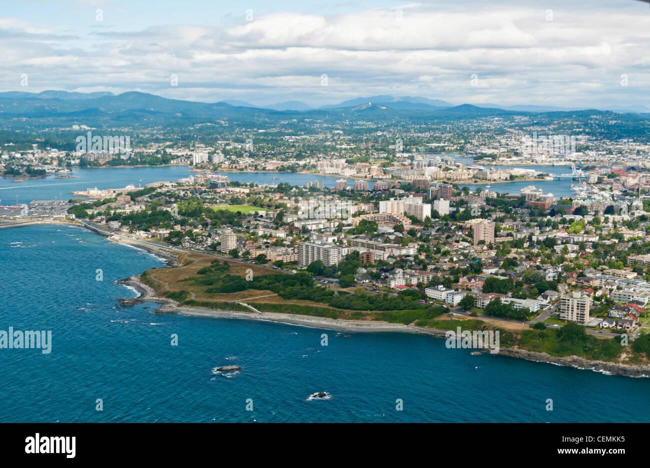 Une vue aérienne de Victoria sur l'île de Vancouver au Canada Photo Stock