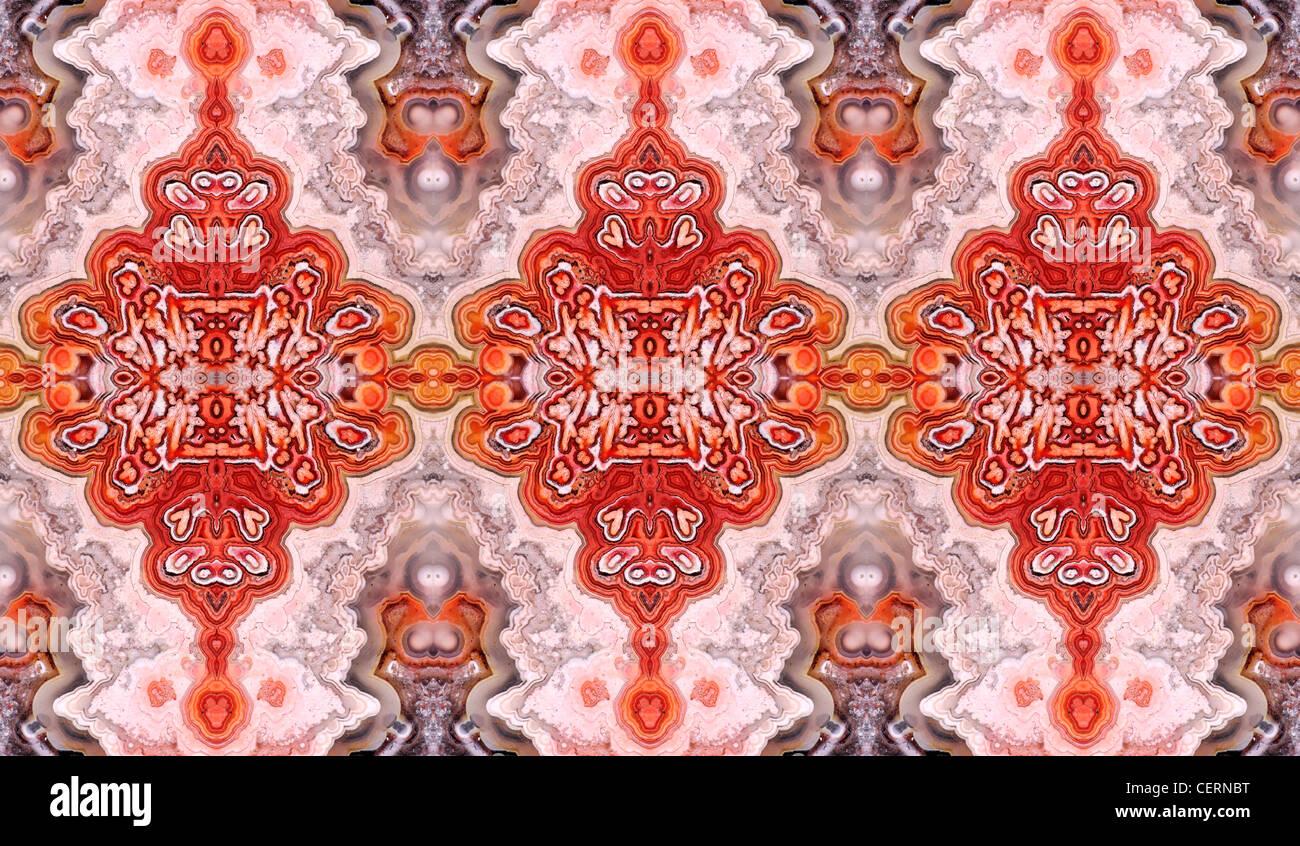 Tranche polie de Jasper (opaque, forme à grain fin de calcédoine) motif symétrique faite à partir Photo Stock