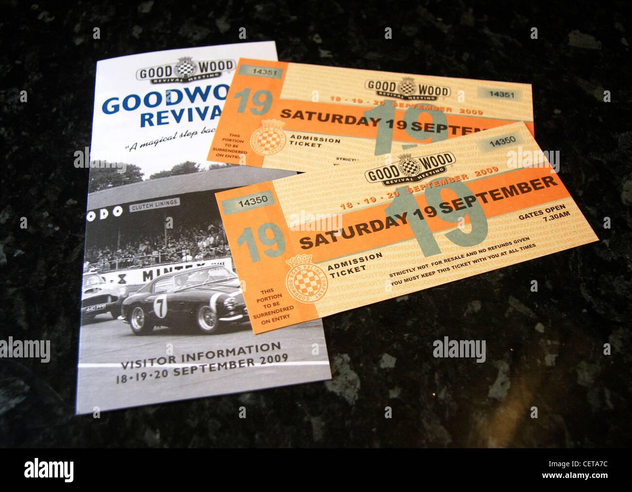Billets à Goodwood Revival et brochure. Photo Stock