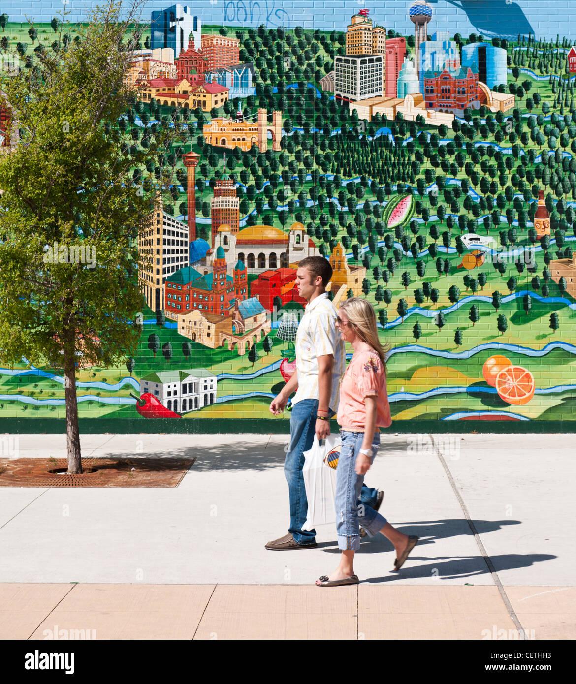 Marché de la Renaissance, faites glisser, murale, Austin, TX Photo Stock